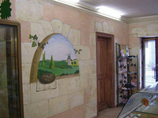 Decor peint boulangerie for Decoration fausse porte